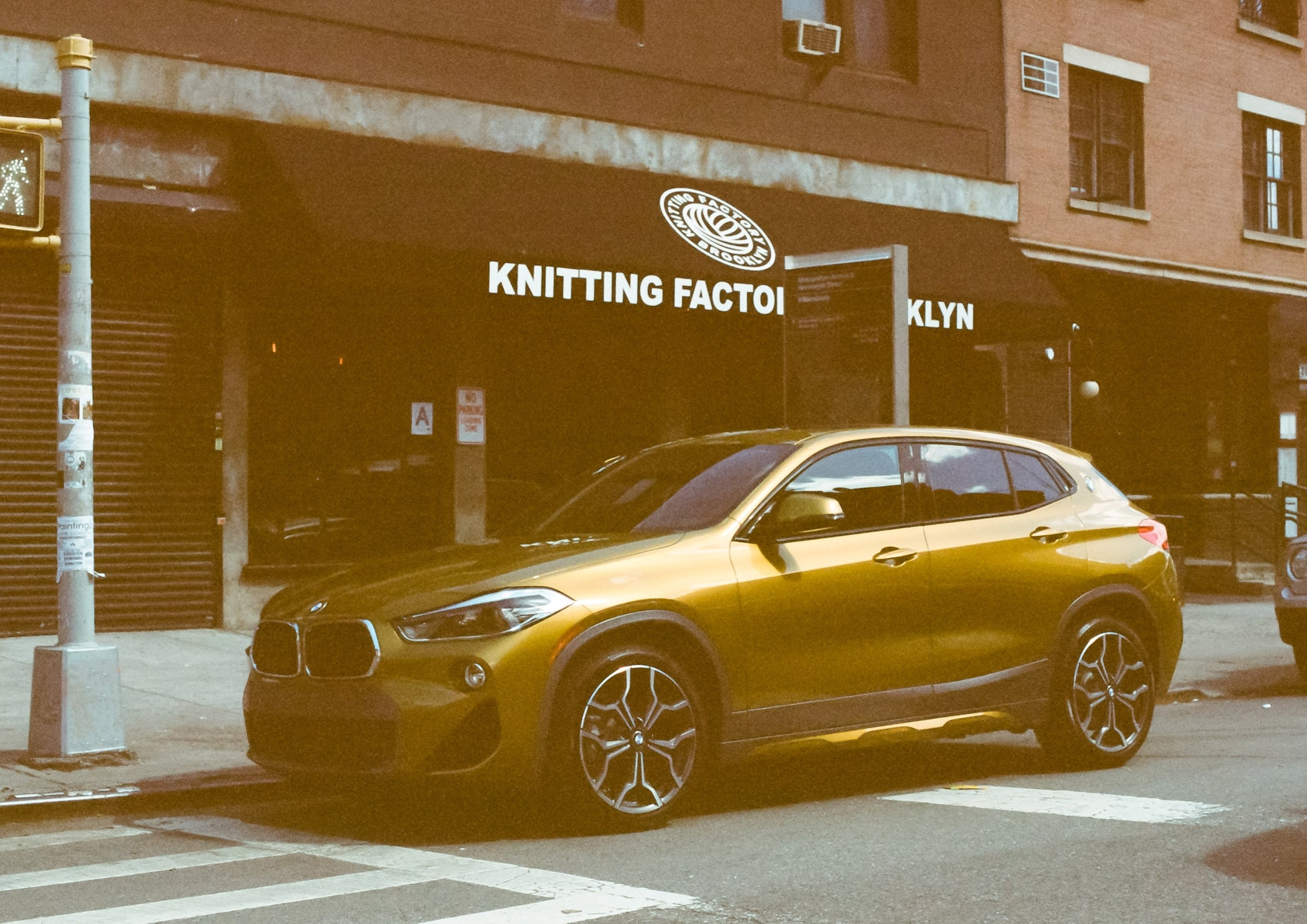 The first-ever BMW X2 pictured in front of the Knitting Factory in Brooklyn