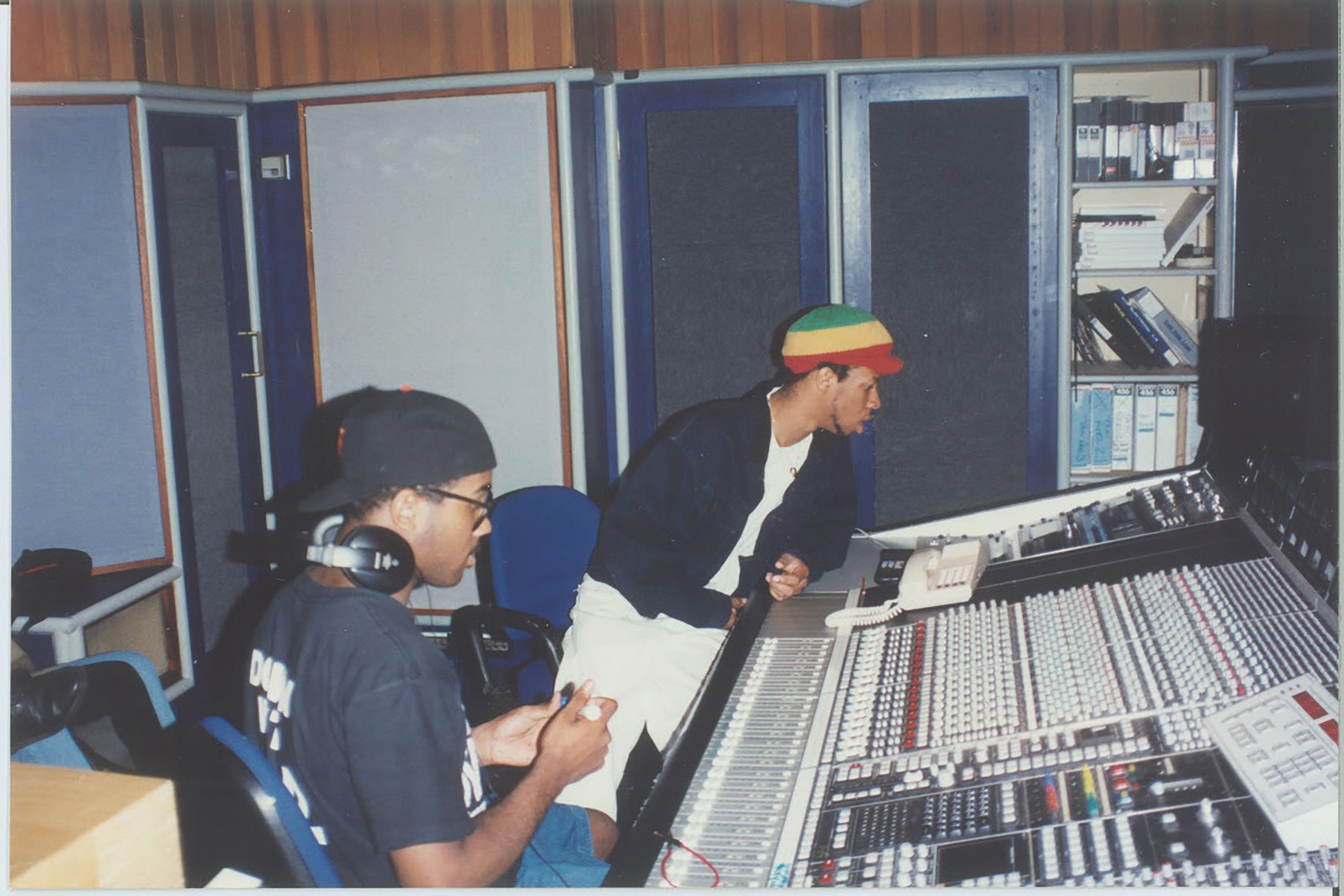 The group recording Breaking Atoms in studio.