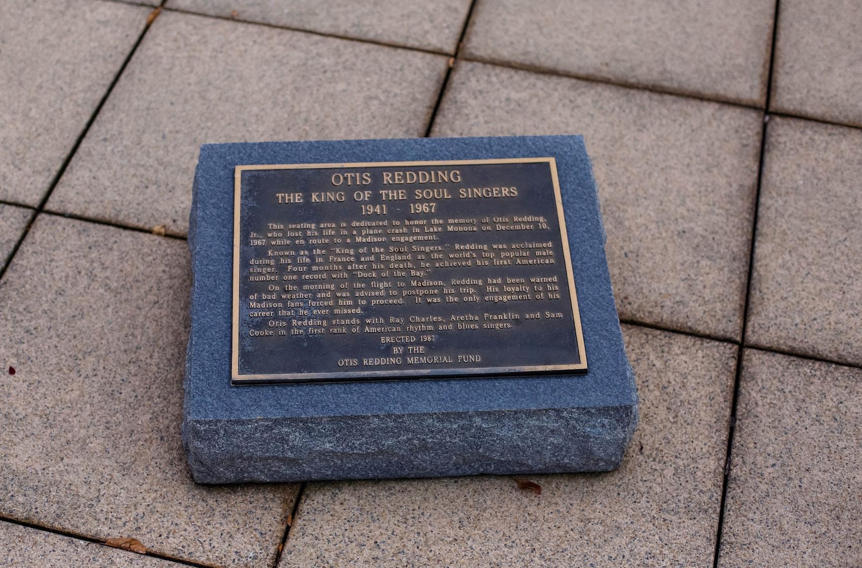 The plaque memorializing Otis Redding on Monona Terrace.