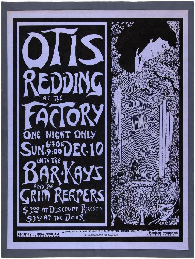 The poster for Otis' missed show in Madison. It sells for hundreds of dollars.