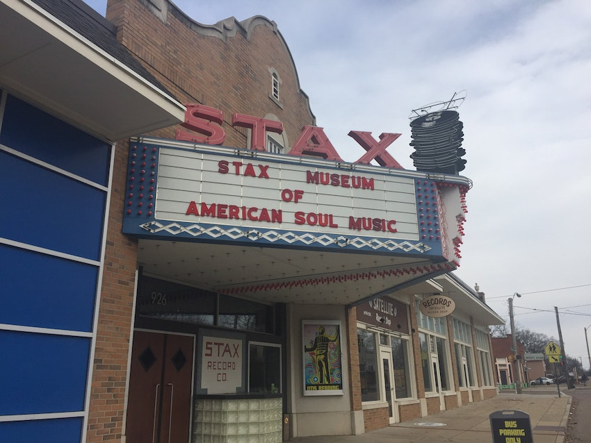 The outside of the Stax museum, constructed to look like it did when Otis was alive.