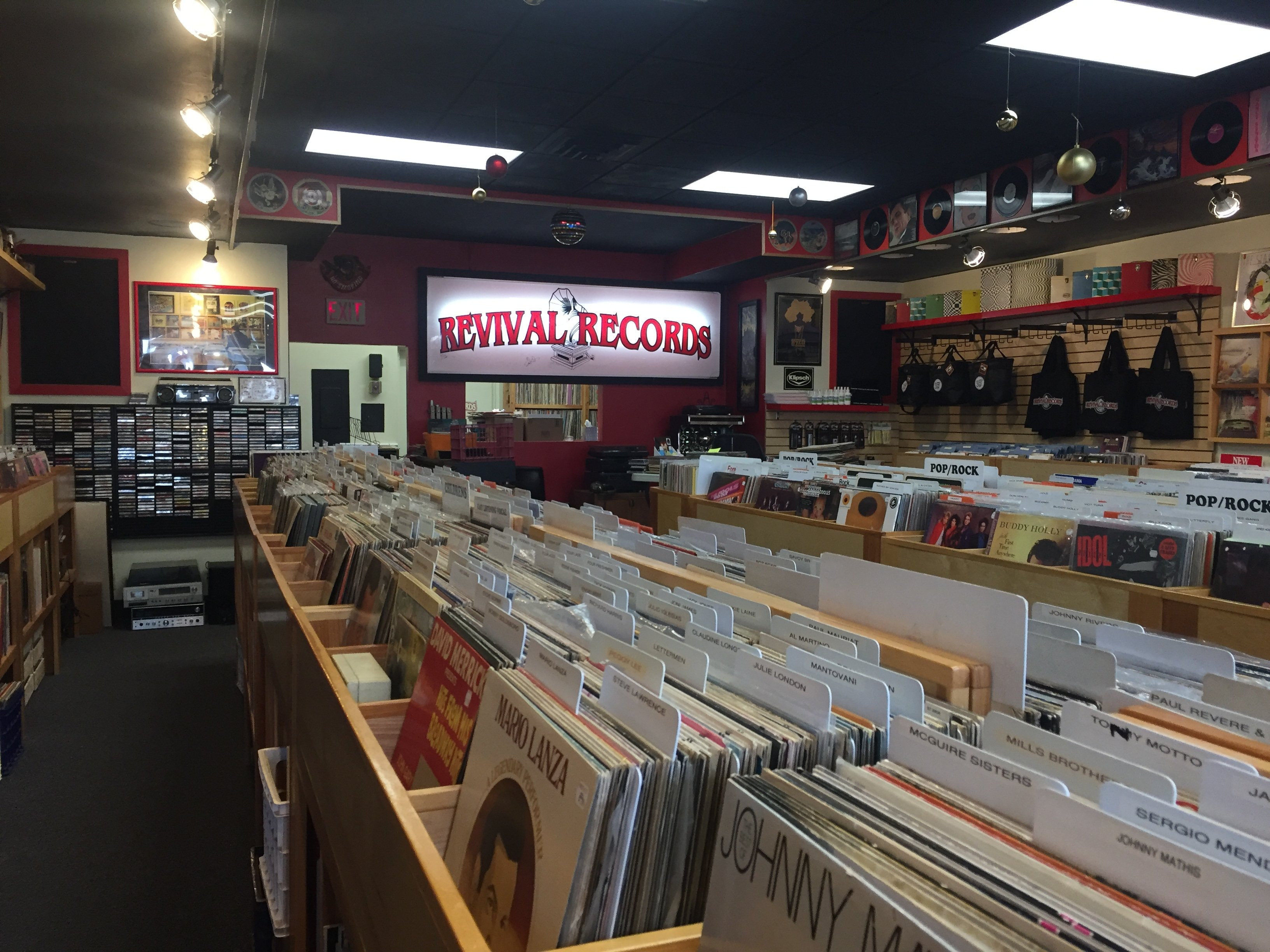 The crates of Revival Records in its third and current location.