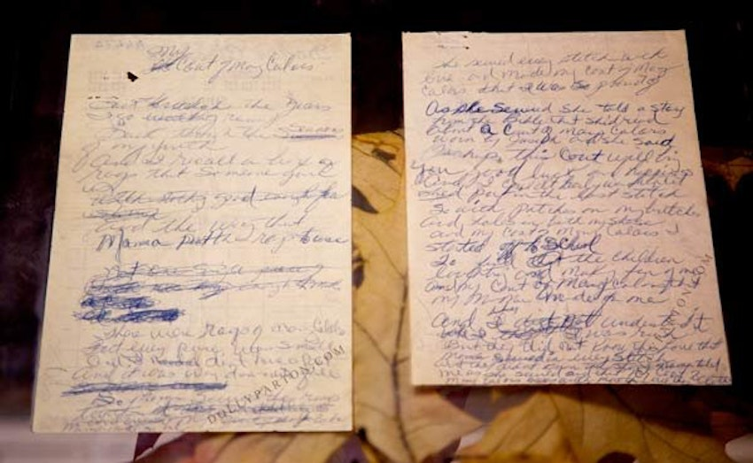 Images of the coat and dry cleaning receipt in the Chasing Rainbows Museum at Dollywood, via dollyparton.com.