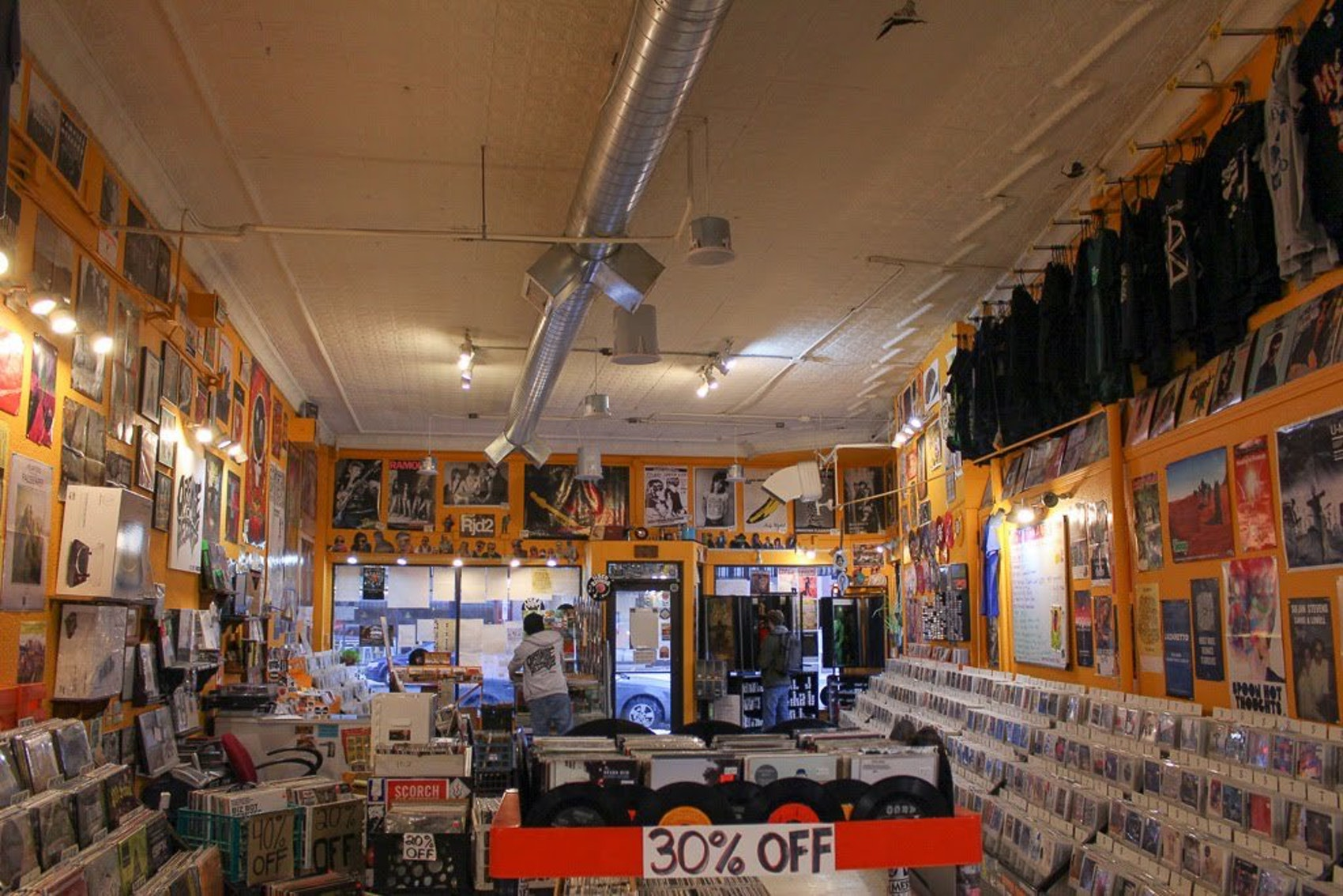 The inside of Orange Records