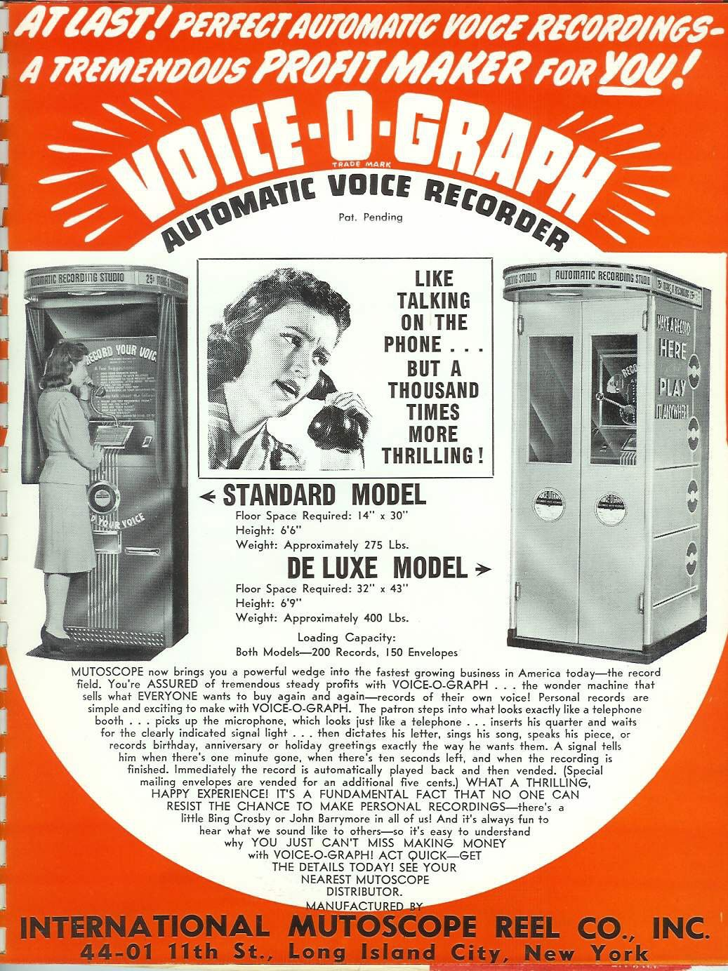 An advertisement for a voice-o-graph.